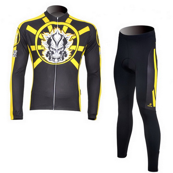 2013 Maillot Ghost Wolf Tirantes Mangas Largas Negro Y Amarillo