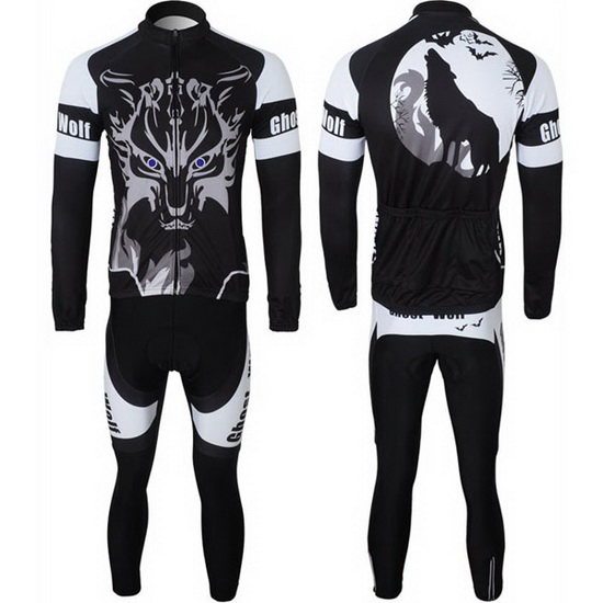 2013 Maillot Ghost Wolf Tirantes Mangas Largas Negro Y Blanco (2