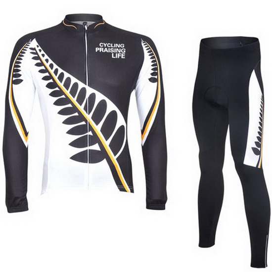 2013 Maillot Ghost Wolf Tirantes Mangas Largas Negro Y Blanco