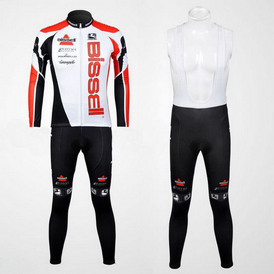 2012 Maillot Bissell Tirantes Mangas Largas Blanco Y Rojo