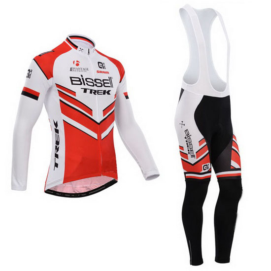 2014 Maillot Bissell Tirantes Mangas Largas Blanco Y Rojo