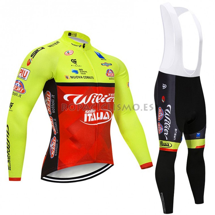 2018 Maillot Wilier Tirantes Mangas Largas Verde y Rojo